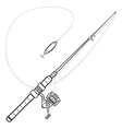 outline spinning fishing rod vector image vector image