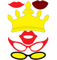 party accessories set - glasses crown lips vector image vector image