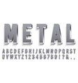 realistic metal font shiny metallic letters with vector image