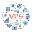 round linear banner - vps concept vector image