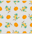 seamless pattern with cute birds and pumpkins vector image