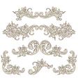set calligraphic elements vintage baroque vector image