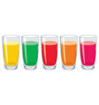 set colorful glasses with tasty fresh juice vector image