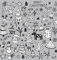 set hand drawn sketchy christmas elements vector image