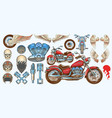 set icons vintage motorcycle in various vector image