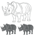 Set of images with a rhinoceros vector image vector image
