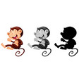 set of monkey laughing vector image vector image