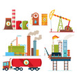 set oil industry extraction production vector image vector image