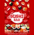 sushi bar menu unagi maki and sashimi rolls vector image