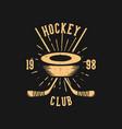 t shirt design hockey club 1998 with hockey puck vector image vector image