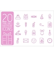 thin line happy birthday icons set concept vector image vector image