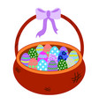 wicker brown basket with painting eggs isolated on vector image