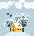 winter landscape with snow-covered house and trees vector image vector image