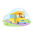 yellow schoolbus with driver character at steering vector image