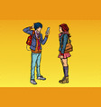 young man and girl teens date vector image