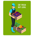 cheerful isometric grocer vector image