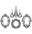 baroque chandelier and mirror frames detailed vector image vector image