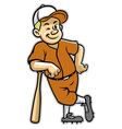 baseball player stand with a baseball bat vector image vector image