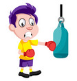 boy with boxing gloves on white background vector image vector image