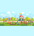bright city park with playground vector image vector image