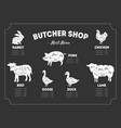 butcher shop label meat menu farm animals and vector image