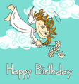 Card for birthday with cupid vector image vector image