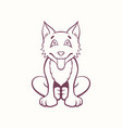 cartoon bear dog in ink contour style vector image