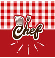 chef logo with red wallpaper vector image vector image