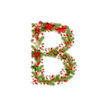 christmas floral tree letter B vector image vector image