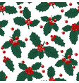 christmas seamless pattern with holly berries vector image vector image