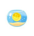 coin bitcoin in aquarium icon vector image