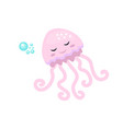 cute jellyfish icon flat cartoon style isolated vector image