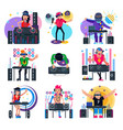 dj music discjockey character playing disco vector image