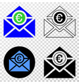 euro mail eps icon with contour version vector image vector image
