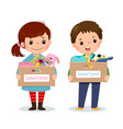 girl and boy holding donation box vector image vector image