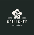 grill chef hat restaurant spatula fork hipster vector image vector image