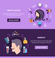hairdresser banner set vector image vector image