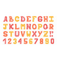 hand-drawn cute colorful alphabet with doodles vector image