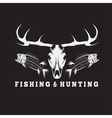 hunting and fishing vintage emblem with skulls of vector image vector image