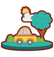 line color taxi car service in the city with tree vector image