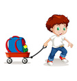 Little boy pulling cart with backpack on it vector image vector image