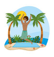man wearing bathing shorts and jumping in the vector image vector image
