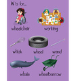 Many words begin with letter W vector image vector image
