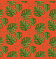 monstera plant seamless pattern on a orange vector image vector image