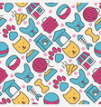 pet care seamless pattern with thin line icons vector image vector image