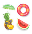 pineapple and sunglasses set vector image vector image