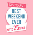 pink discount sale banner template flat vector image vector image