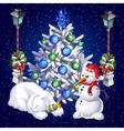 Postcard snowman and sleeping polar bear vector image vector image