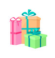 presents packed gifts shipping containers vector image vector image