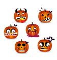 pumpkins face emotion vector image vector image